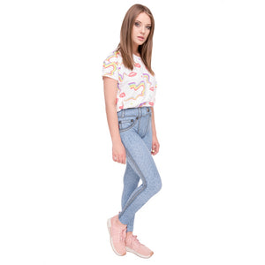 Light Blue simple Jeans Printing High Waist Women Leggings