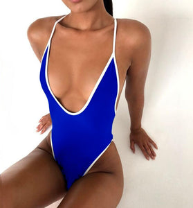 Strips Backless One piece Padded Swimsuit Blue