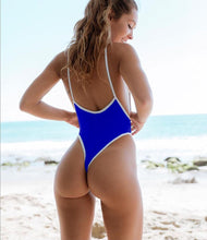 Load image into Gallery viewer, Strips Backless One piece Padded Swimsuit Blue