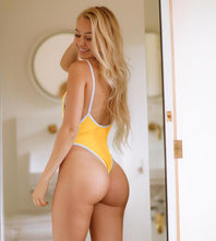 Load image into Gallery viewer, Strips Backless One piece Padded Swimsuit Yellow