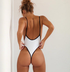 Strips Backless One piece Padded Swimsuit White