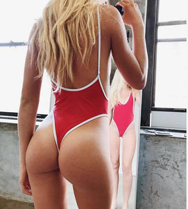Strips Backless One piece Padded Swimsuit Red