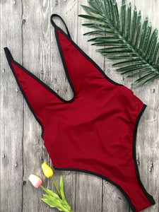 Strips Backless One piece Padded Swimsuit Red Wine
