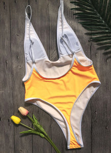 Strips Backless One piece Padded Swimsuit Yellow