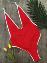 Load image into Gallery viewer, Strips Backless One piece Padded Swimsuit Red