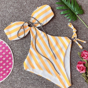 Striped Backless Padded One Piece Swimsuit Yellow