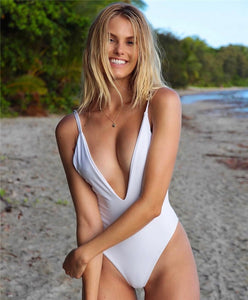 Solid Straps Backless Padded One Piece Swimsuit White