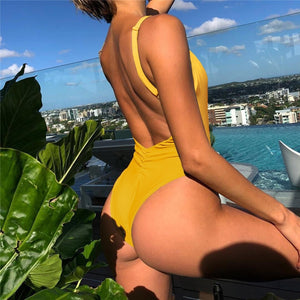 Solid Straps Backless Padded One Piece Swimsuit Yellow