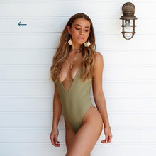 Load image into Gallery viewer, Solid Straps Backless Padded One Piece Swimsuit Green