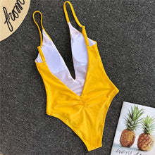 Load image into Gallery viewer, Solid Straps Backless Padded One Piece Swimsuit Yellow