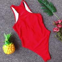 Load image into Gallery viewer, Zipper Mesh Patchwork Padded One Piece Swimsuit Red