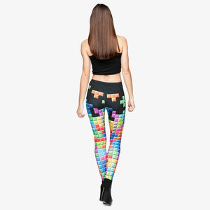 Tetris 3D Graphic Printing High Waist Women Leggings