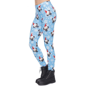Santa Pug Printing High Waist Women Leggings
