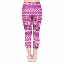 Load image into Gallery viewer, Boho Purple Printing Mid-Calf 3/4 Women Capri Leggings