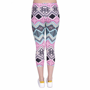Aztec Printing Mid-Calf 3/4 Women Capri Leggings