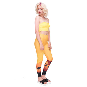Orange Triangle Printing High Waist Women Leggings