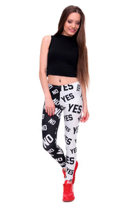 Yes and No Printing High Waist Women Leggings