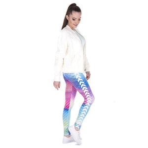 White Arrowa Hologrephic Printing High Waist Women Leggings
