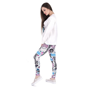 Dummy Doodle Printing High Waist Women Leggings