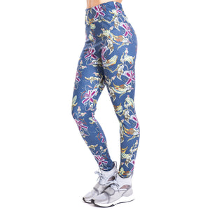 Tropical flowers imitate Jeans Printing High Waist Women Leggings