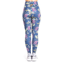 Load image into Gallery viewer, Tropical flowers imitate Jeans Printing High Waist Women Leggings