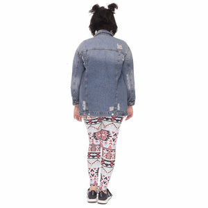 Boho Green Printing Plus Size Women Leggings