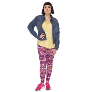 Boho Purple Printing Plus Size Women Leggings