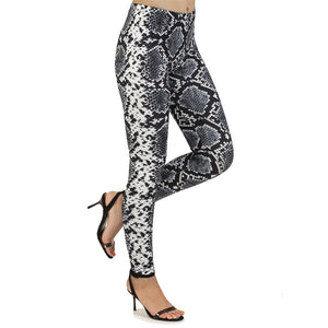 Silver Snake Skin Printing High Waist Women Leggings