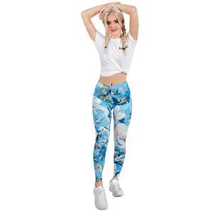 Floral Garden Printing High Waist Women Leggings
