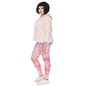 Triangles Pink Marble Printing Plus Size Women Leggings