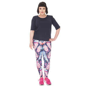 Feathers Color Printing Plus Size Women Leggings