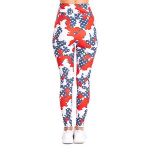 Camo Usa Flag Imitate Jeans Printing High Waist Women Leggings