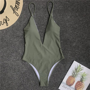 Solid Straps Backless Padded One Piece Swimsuit Green