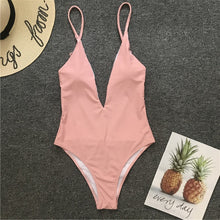 Load image into Gallery viewer, Solid Straps Backless Padded One Piece Swimsuit Pink