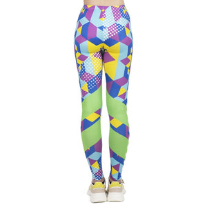 Fluorescent Geo Cubic Printing High Waist Women Leggings