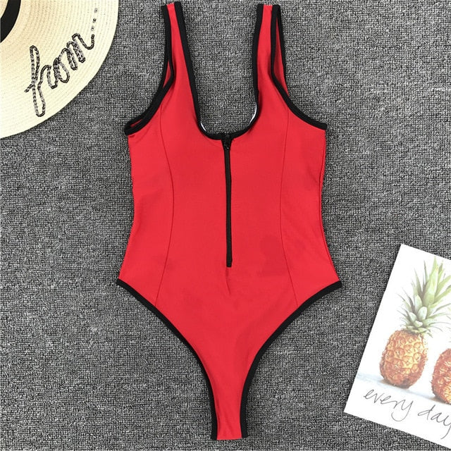 Zipper Patchwork Padded One Piece Swimsuit Red