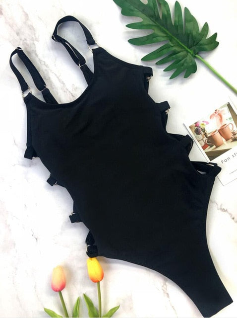 Straps Bodysuit Hollow Out Padded One Piece Swimsuit Black