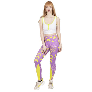 Fluorescent Pink Neon Printing High Waist Women Leggings