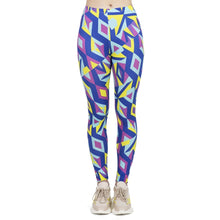 Load image into Gallery viewer, Fluorescent Neon Mosaic Printing High Waist Women Leggings