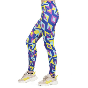 Fluorescent Neon Mosaic Printing High Waist Women Leggings