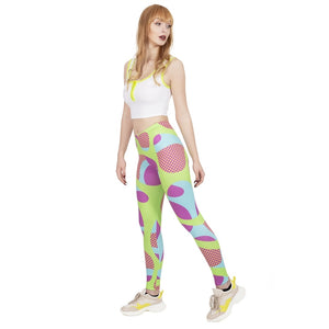 Fluorescent Squiggle Pop Printing High Waist Women Leggings