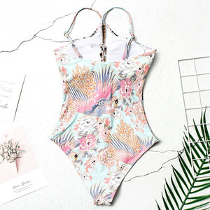 Peacock Print Padded One Piece Swimsuit