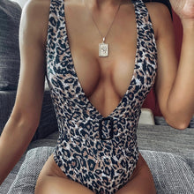 Load image into Gallery viewer, Deep V-Neck Leopard Padded One Piece Swimsuit