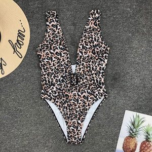 Deep V-Neck Leopard Padded One Piece Swimsuit