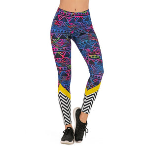 Tribal Pop Stitching Printing High Waist Women Leggings
