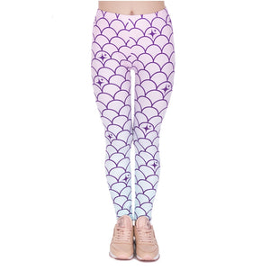 Mermaid Tail Printing High Waist Women Leggings