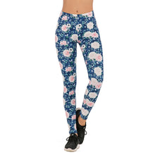 Load image into Gallery viewer, Roses Blue Gird Printing High Waist Women Leggings
