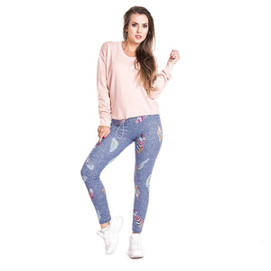 Feather Imitate Jeans Printing High Waist Women Leggings