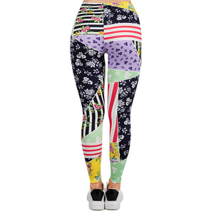 Patchwork Floral Printing High Waist Women Leggings