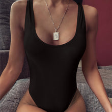 Load image into Gallery viewer, O-Neck Backless One Piece Swimsuit Black